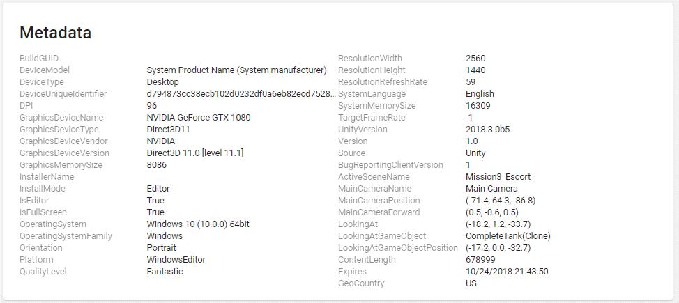User Reporting | Unity Cloud Diagnostics